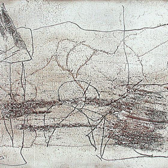 Latence, mastique et acrylique sur bois, 40×70 cm
