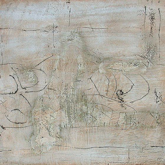 Ibernation,mastique et acrylique sur bois, 80×10 cm