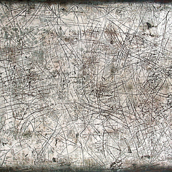 Mimétisme, mastique et acrylique sur bois, 80×100 cm